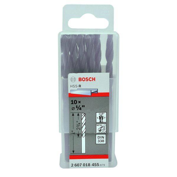 """10x Bosch Metal Drill Bits Hss 1/4"""" (2607018455 )"""