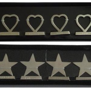 6 Chrome Heart /Star Shaped Card Holders Stand