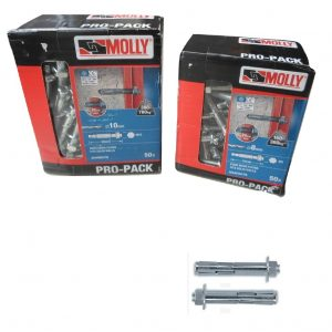 Black & Decker MOLLY Pro-Pack Anchor Through Fixings bolts. Pack 50. 8mm/10mm
