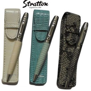 Stratton Faux Reptile Leather Pen & Pouch set