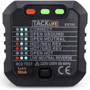 TACKLIFE Socket Tester,Mains Outlet Tester. EST03