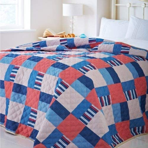 Catherine Lansfield Nautical Patchwork Quilted Bedspread, 240 x 260 cm
