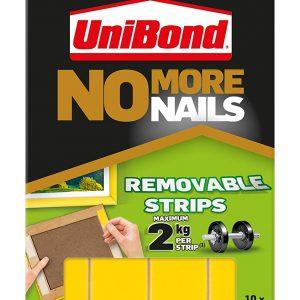 Unibond No More Nails Removable Translucent Hanging Strip- Pack of 10