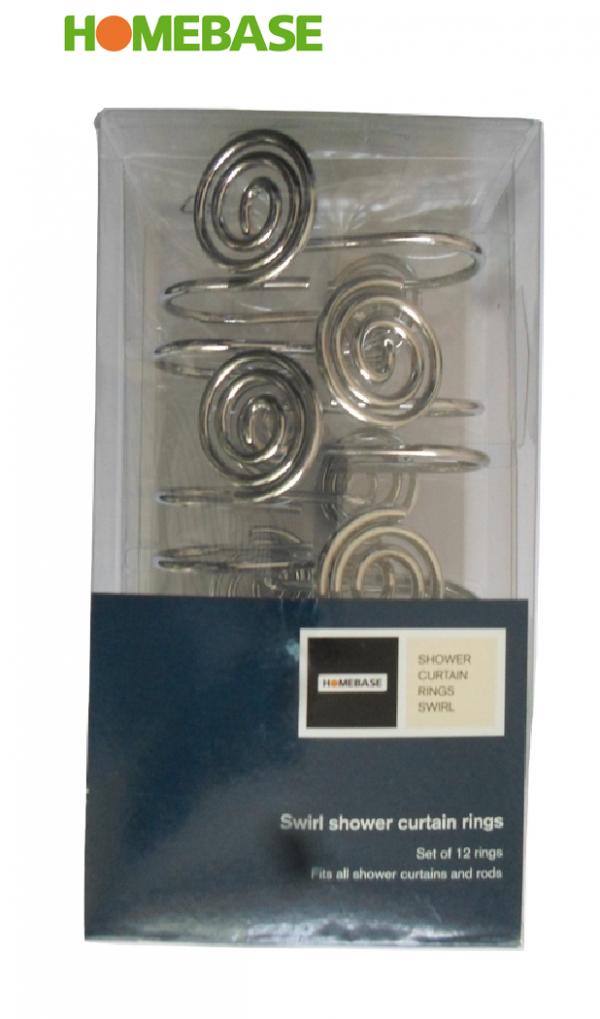 Homebase Swirl 12x Chrome Shower Curtain Rings (By Croydex)