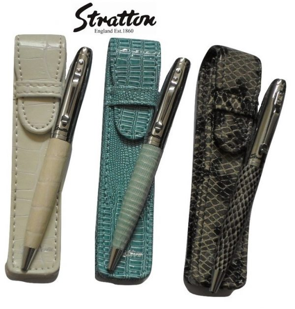 Stratton Faux Reptile Leather Pen & Pouch set
