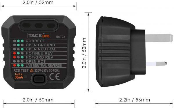 54x TACKLIFE Socket Tester,Mains Outlet Tester. EST03