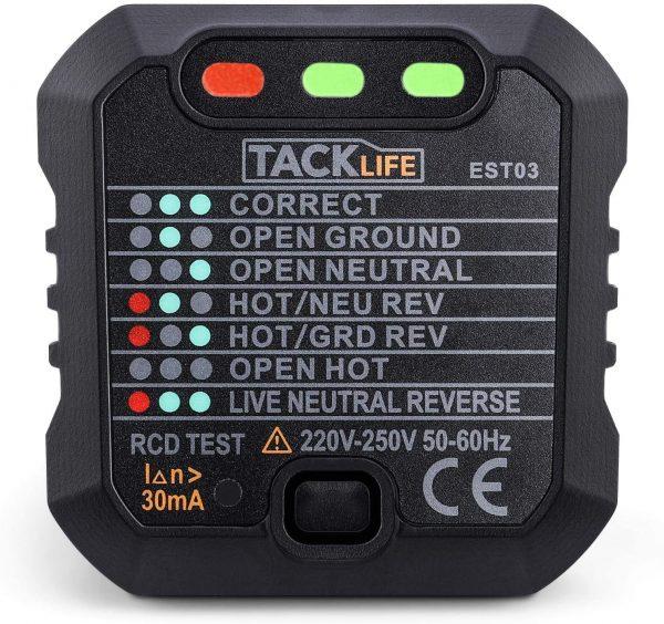 TACKLIFE Socket Tester,Mains Outlet Tester. EST03