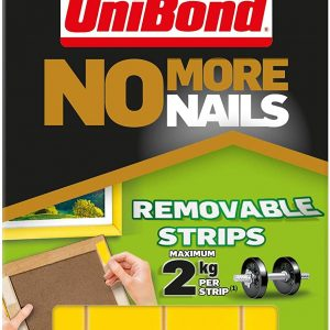 Unibond No More Nails Double Sided Removable Picture Hanging Strips Pack of 5